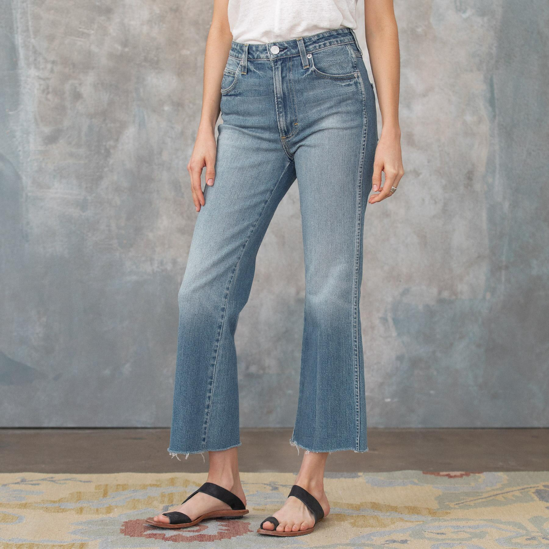 HIGH RISE KICK CROPPED JEANS: View 1