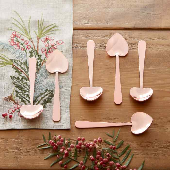 HEART SHAPED ROSE GOLD SPOONS, SET OF 6
