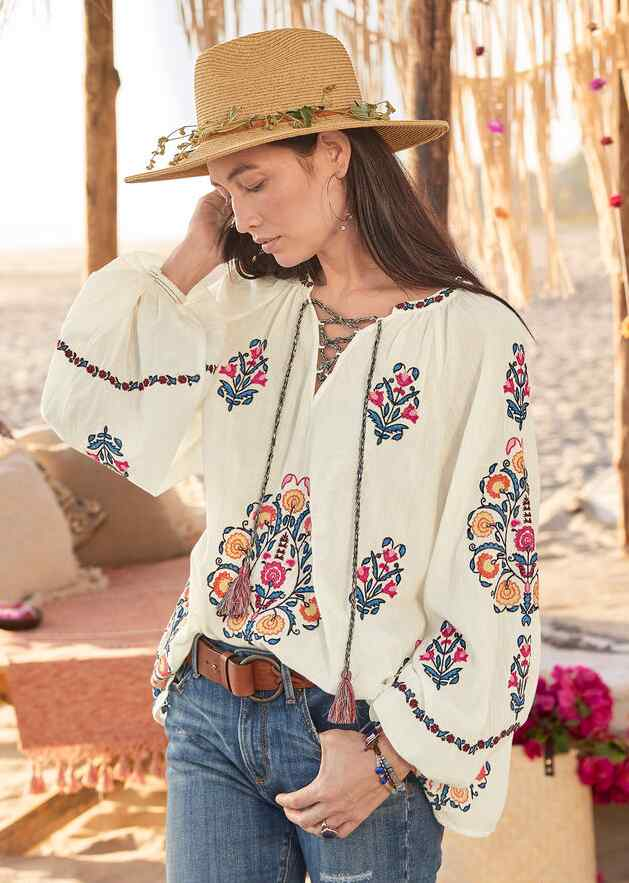 EMILE EMBROIDERED TOP - PETITES
