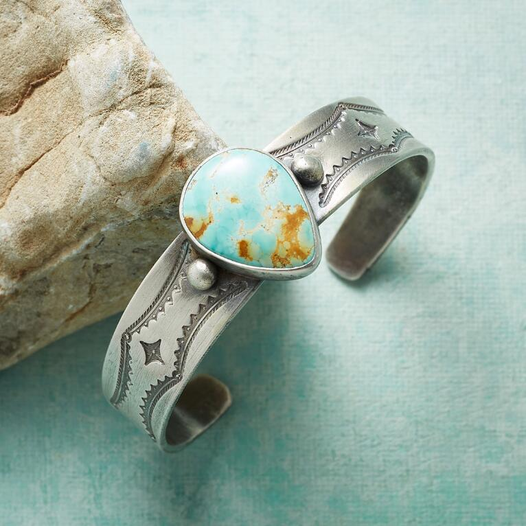 STAMPED TURQUOISE CUFF