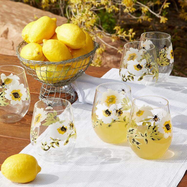 HONEYLAND STEMLESS WINE GLASSES, SET OF 6