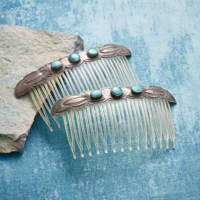 1950S TURQUOISE HAIR COMBS