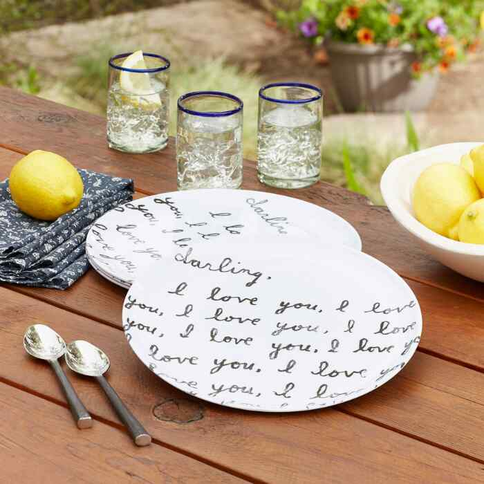 DARLING I LOVE YOU PLATES, SET OF 4
