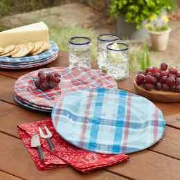 AMERICANA PLAID DINNER PLATES, SET OF 4