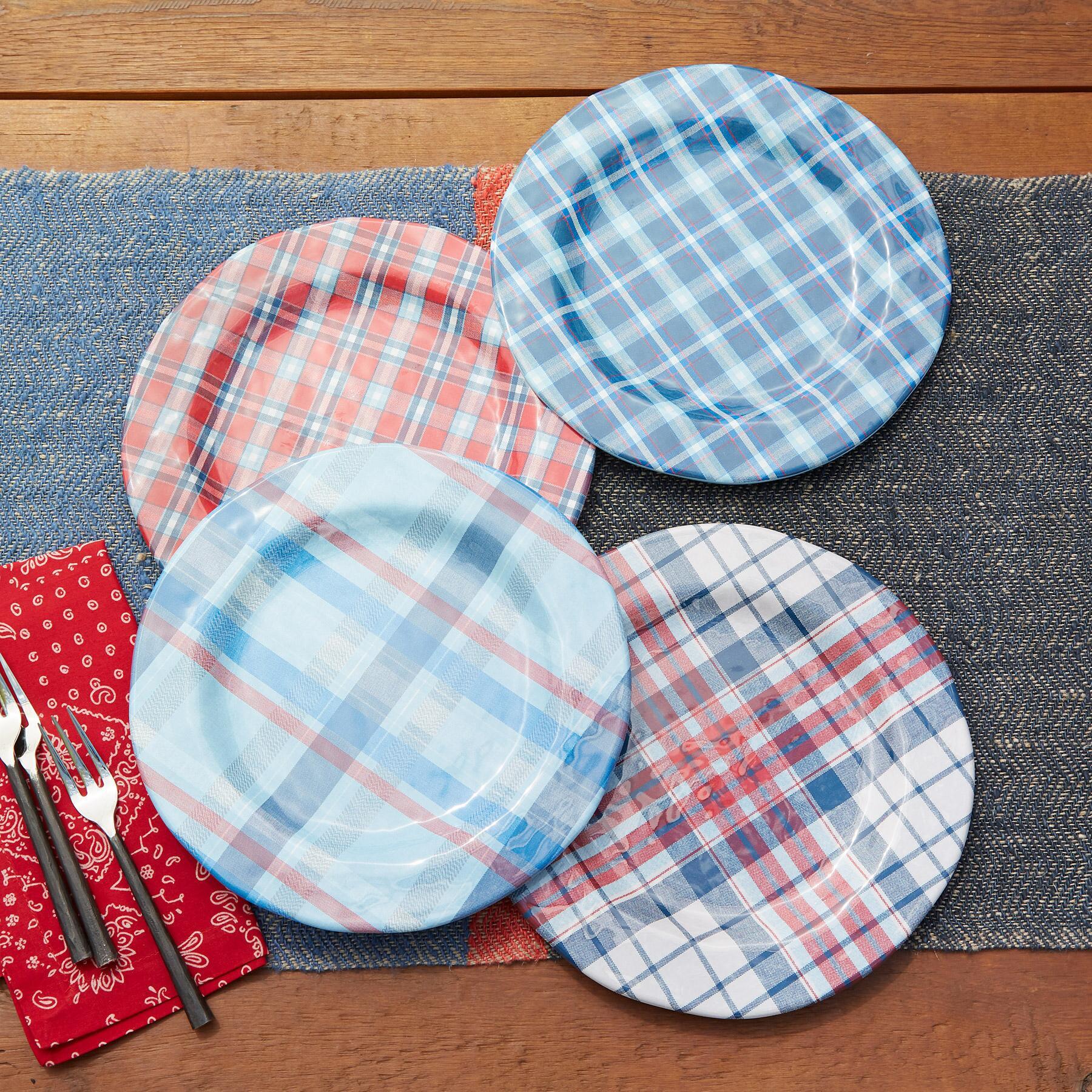 AMERICANA PLAID DINNER PLATES, SET OF 4: View 2