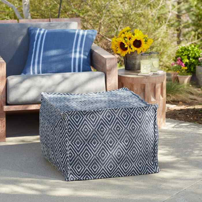 NAVY DIAMOND POUF