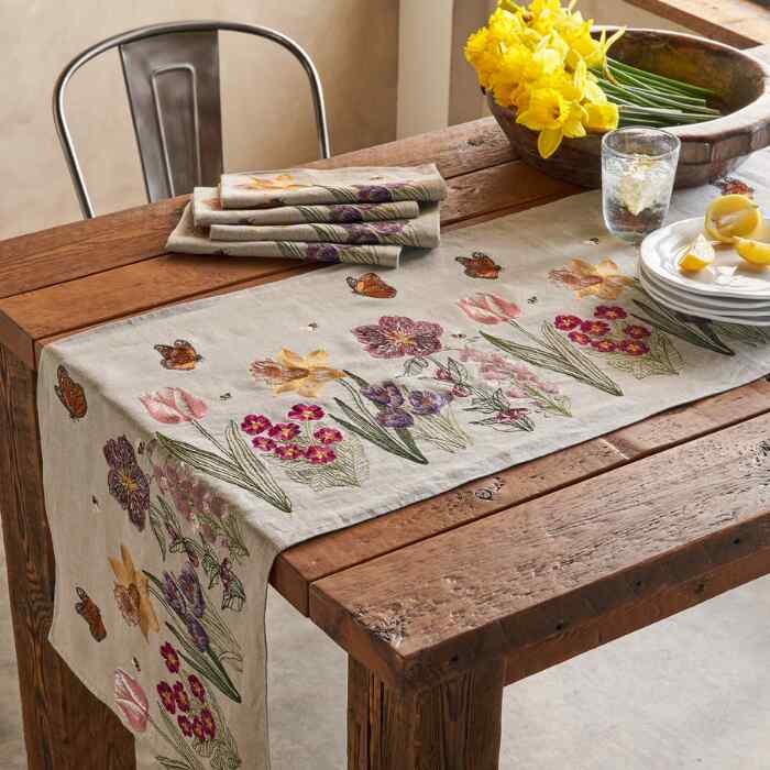 SPRING BLOOMS & BUTTERFLIES TABLE RUNNER