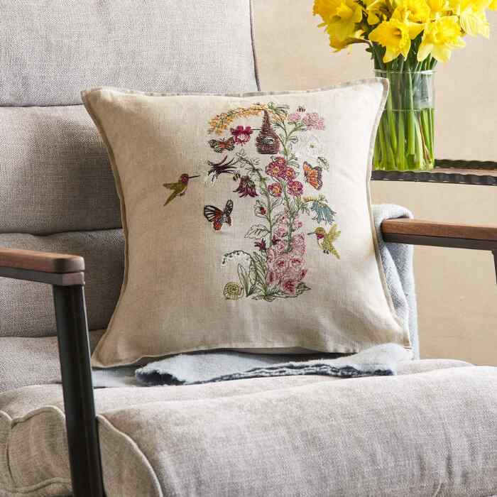 SPRING BLOOMS & HUMMINGBIRD PILLOW