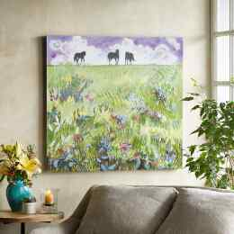 THREE HORSES & VIOLET SKY PAINTING