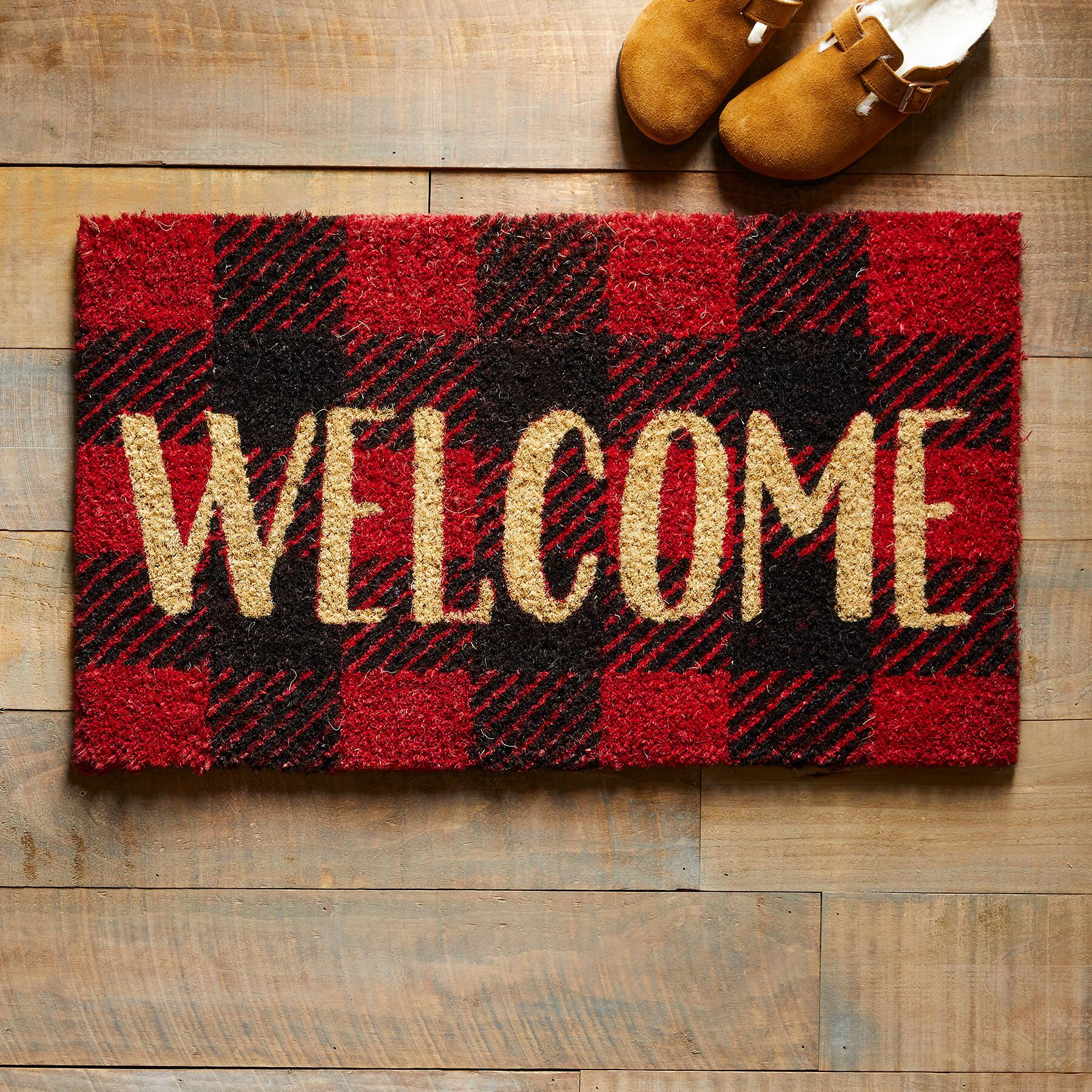 Red plaid welcome mat for farmhouse style and country charm - Sundance Catalog. #buffaloplaid #christmasdoormat